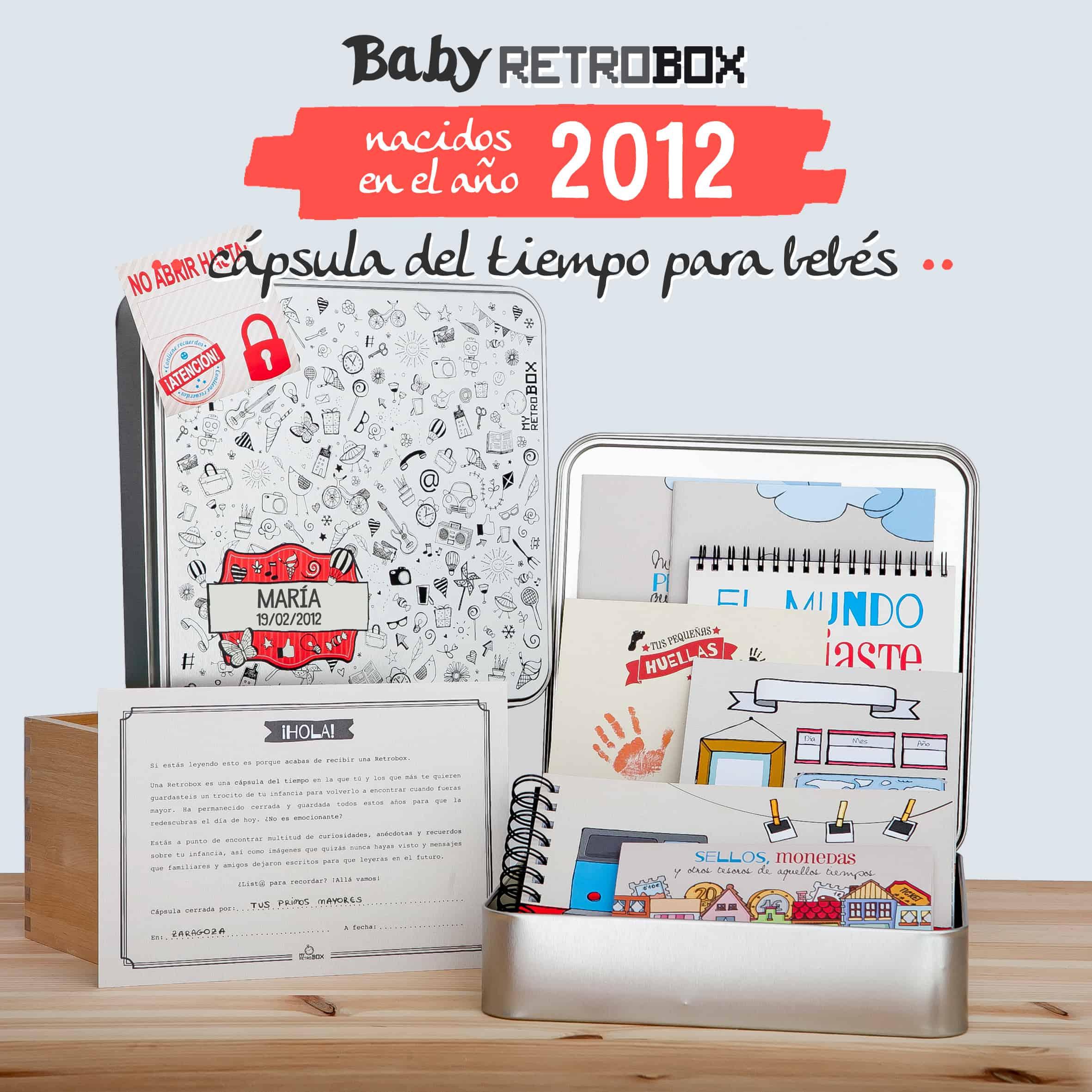 Cápsula del tiempo bebés Baby Retrobox: nacidos en el año 2012