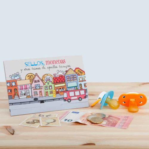 Cápsula del tiempo bebés Baby Retrobox: Sobre para sellos y monedas del año