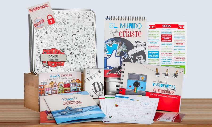 Capsula del tiempo niños Peque Retrobox: regalo original niño o niña