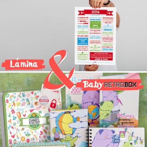 Cápsula del tiempo baby o peque Retrobox más lámina resumen de acontecimientos del año de nacimiento