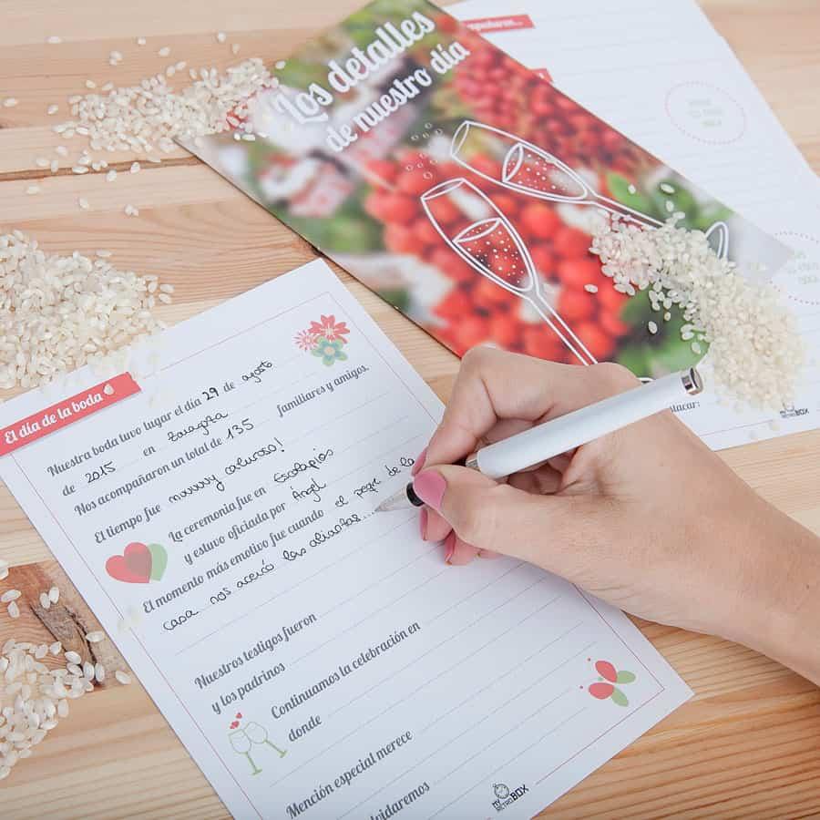 Capsula del tiempo bodas Retrobox Sí Quiero: Fichas de detalles