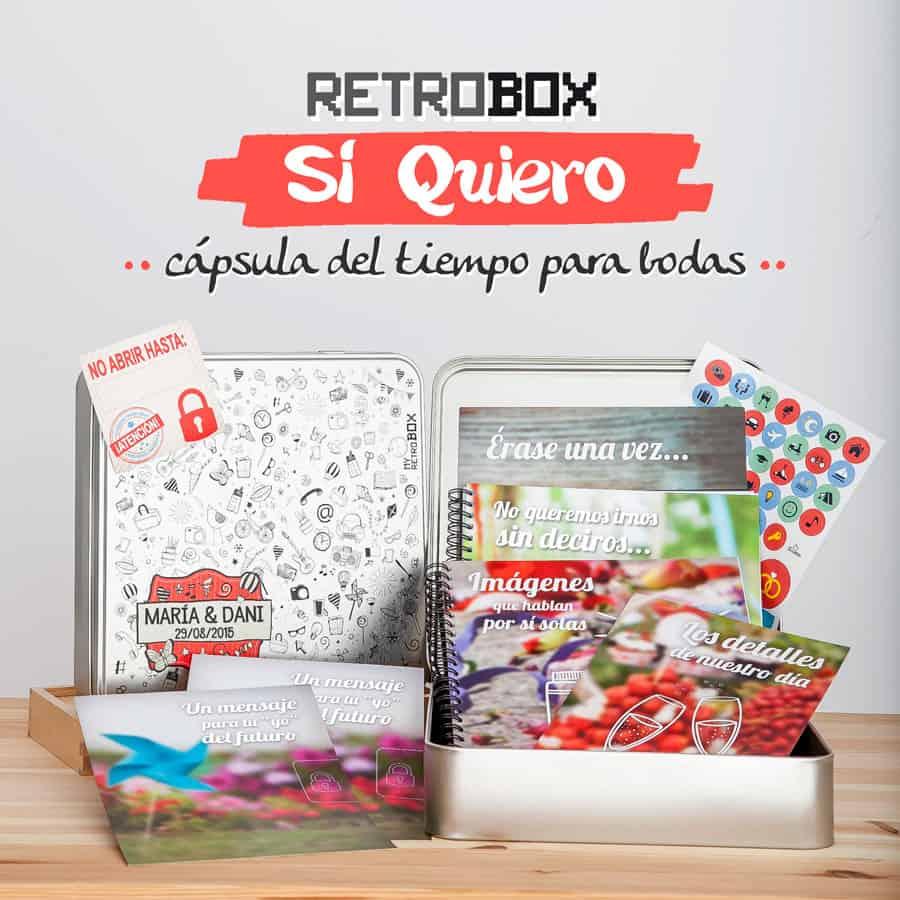 Capsula del tiempo bodas Retrobox Sí Quiero - regalo original boda