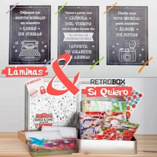 Capsula del tiempo bodas Retrobox Sí Quiero y láminas