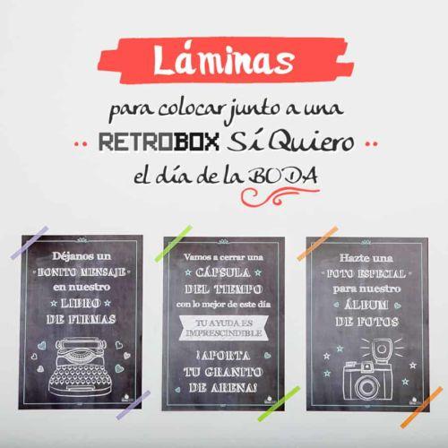Láminas Cápsula del tiempo Retrobox Sí Quiero