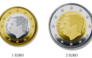 Nuevas monedas de 1 y 2 euros de Felipe VI
