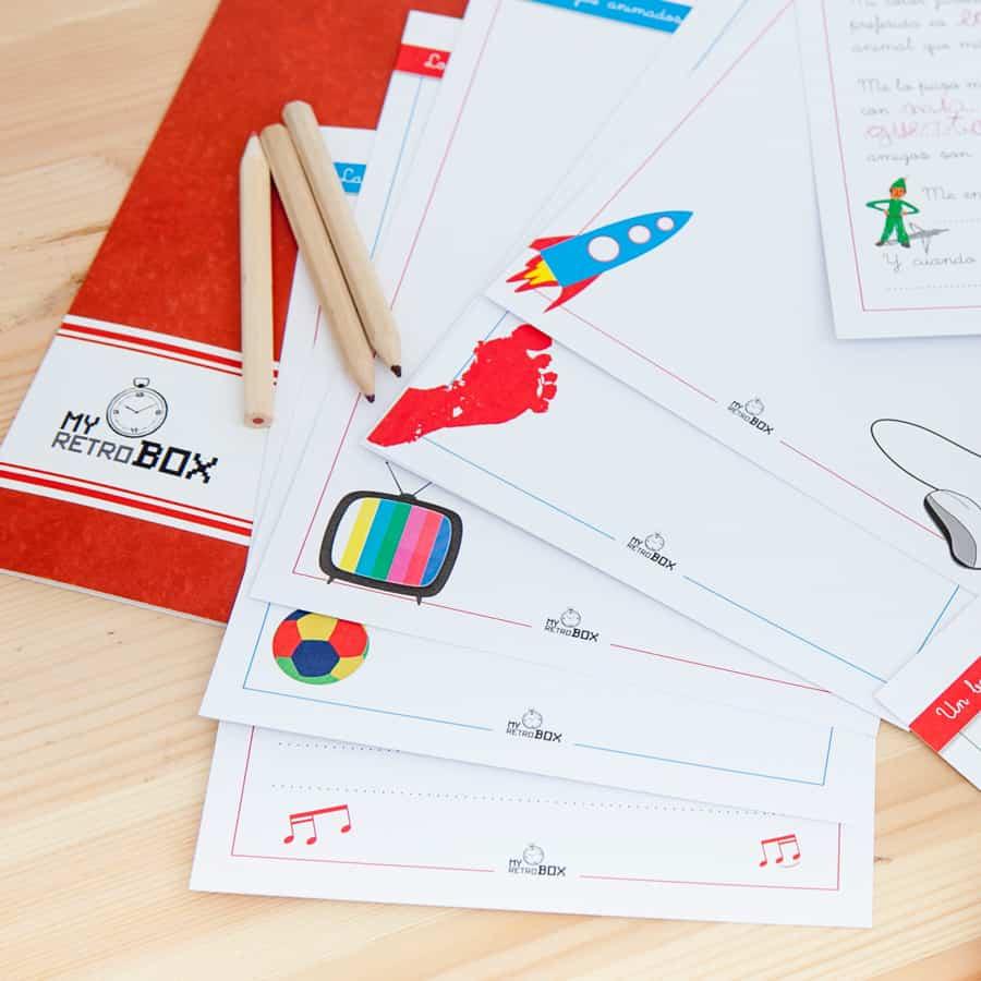 Cápsula del tiempo para niños y niñas Peque Retrobox: fichas para pintar y escribir
