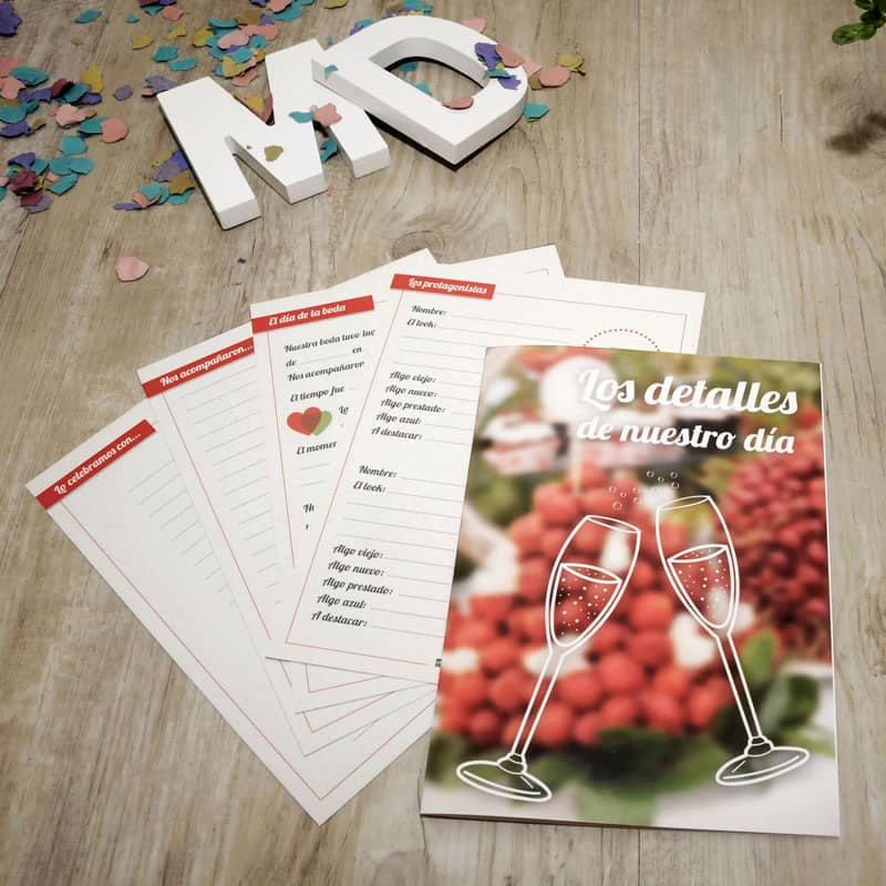 My Retrobox Sí Quiero | Fichas de los detalles de la boda