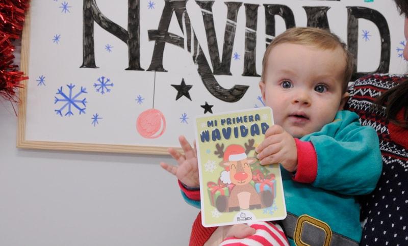 Tarjeta hitos primera Navidad bebé