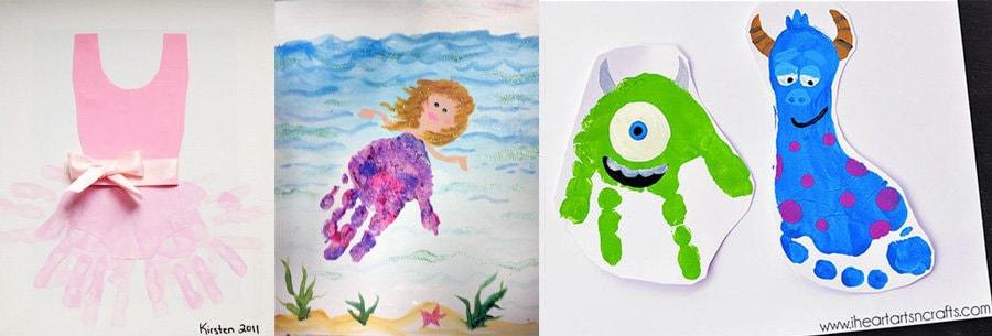 Huellas de bebé y niños con dibujos