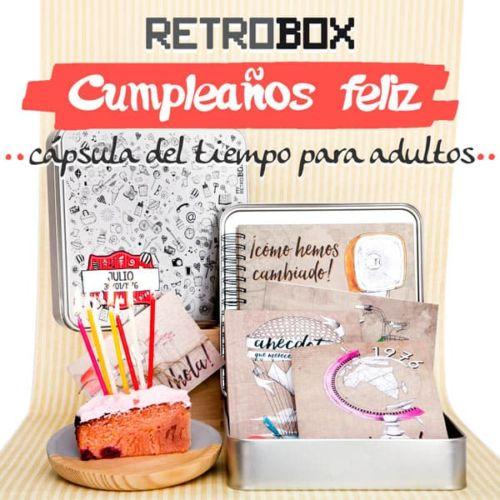 Cápsula del tiempo Cumpleaños Feliz | Retrobox regalo original cumpleaños