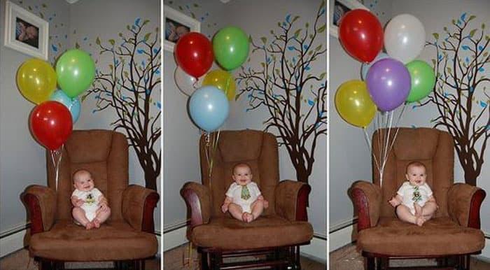 Primer año del bebé: globos con la edad