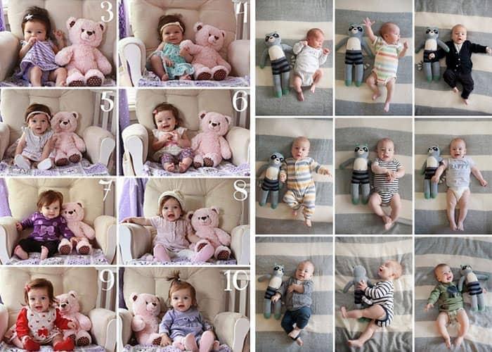 Primer año del bebé: comparación con peluche