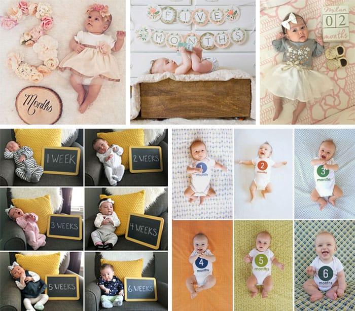 Primer año del bebé: letreros con los meses