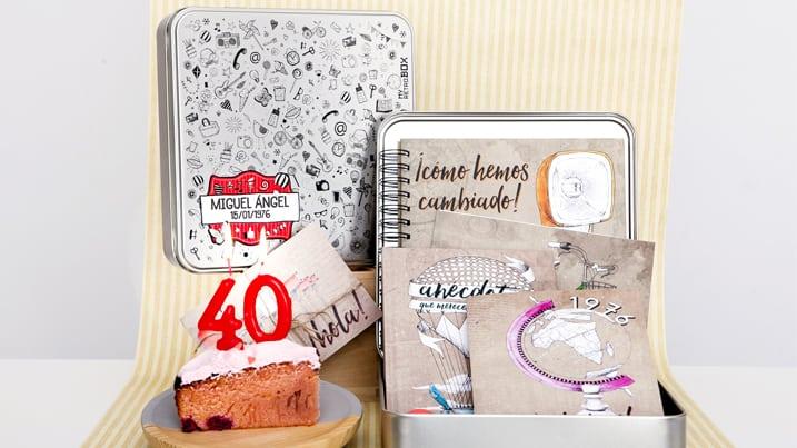 Regalo 40 años Retrobox Cumpleaños Feliz