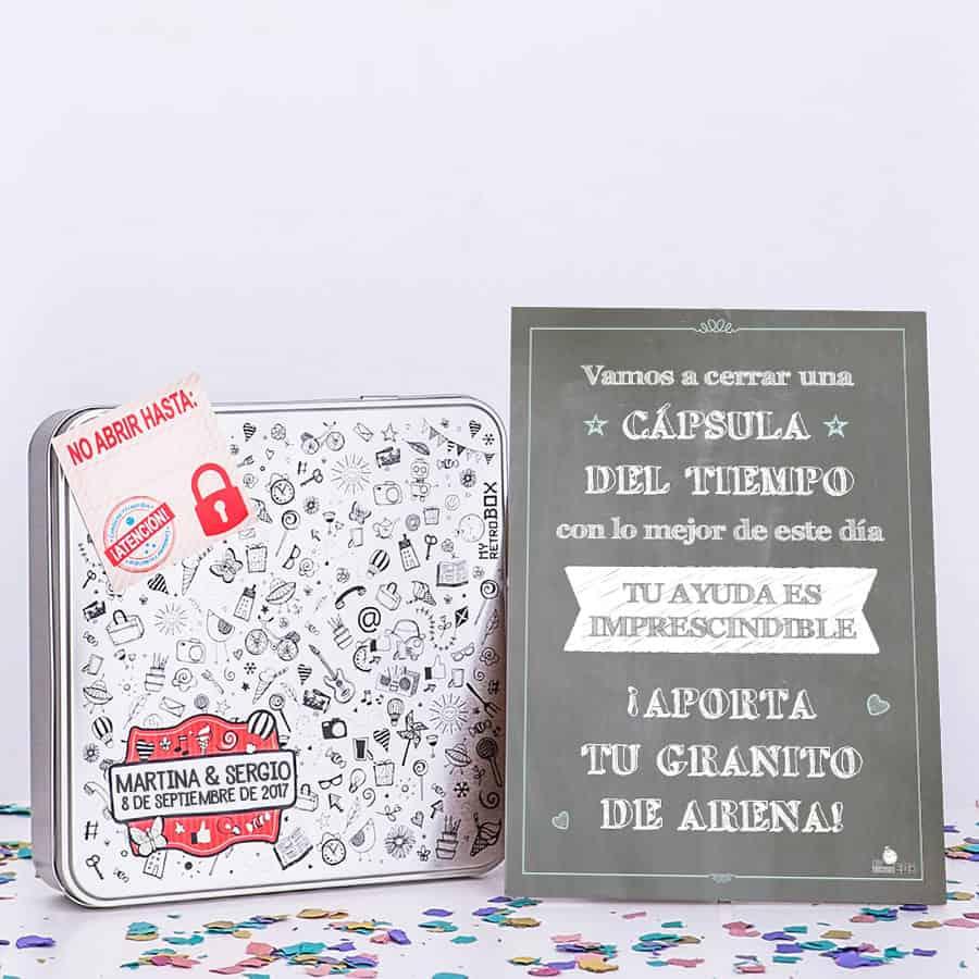 Cápsula del tiempo bodas Retrobox Sí Quiero: caja y lámina