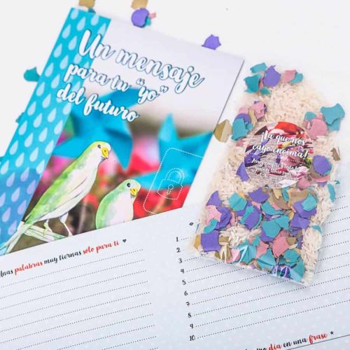 Cápsula del tiempo bodas Retrobox Sí Quiero: confeti y cartas