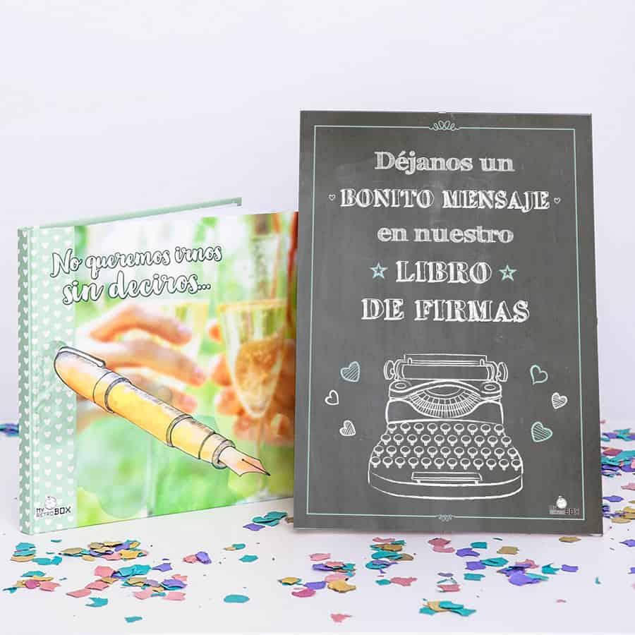 Cápsula del tiempo bodas Retrobox Sí Quiero: libro de firmas y lámina