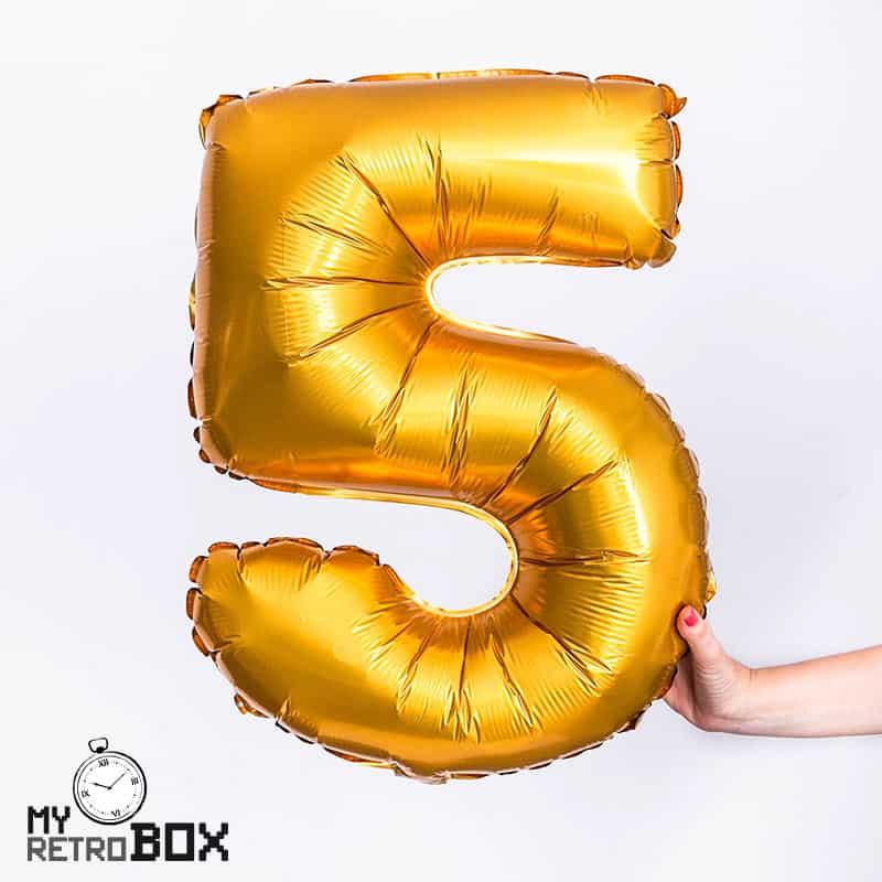 Globo dorado número 5 grande