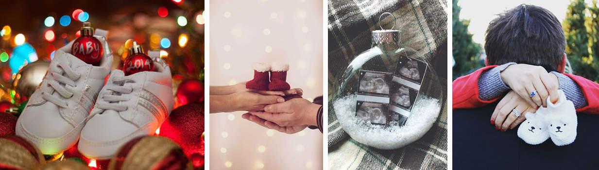 Foto embarazo Navidad regalos bebé