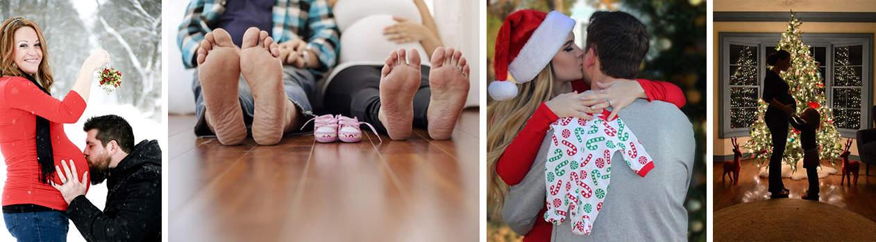 Foto embarazo Navidad pareja