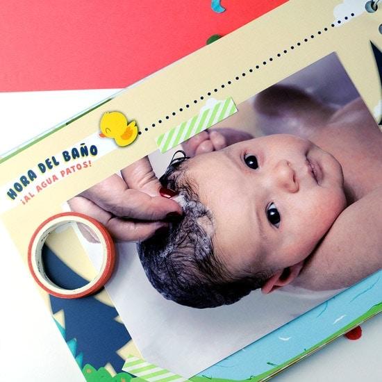 Álbum fotos bebé primer baño
