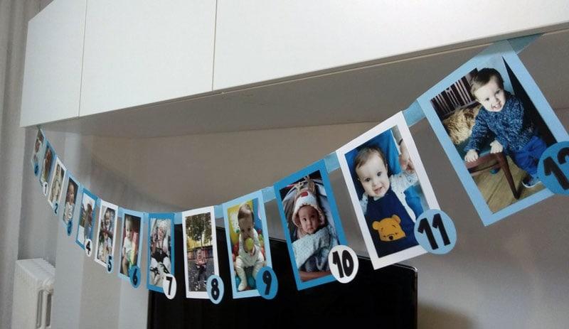 Guirnalda de fotos en segundo cumple de bebe